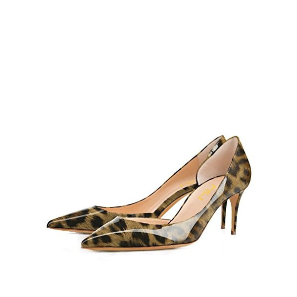 Leopard Print Heels Patent Leather Kitten Heel D'orsay Pumps image 1