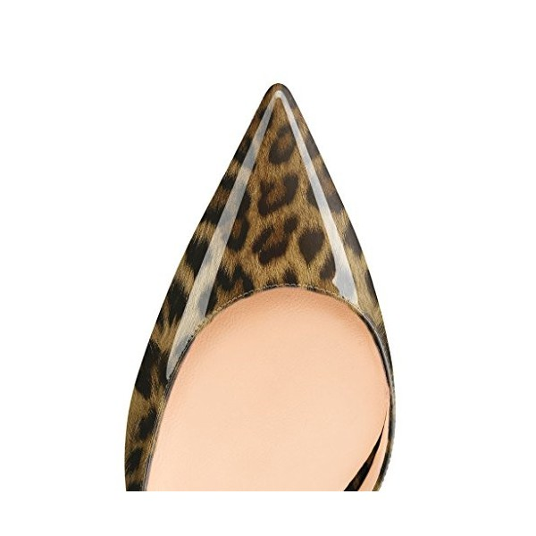 Leopard Print Heels Patent Leather Kitten Heel D'orsay Pumps image 4