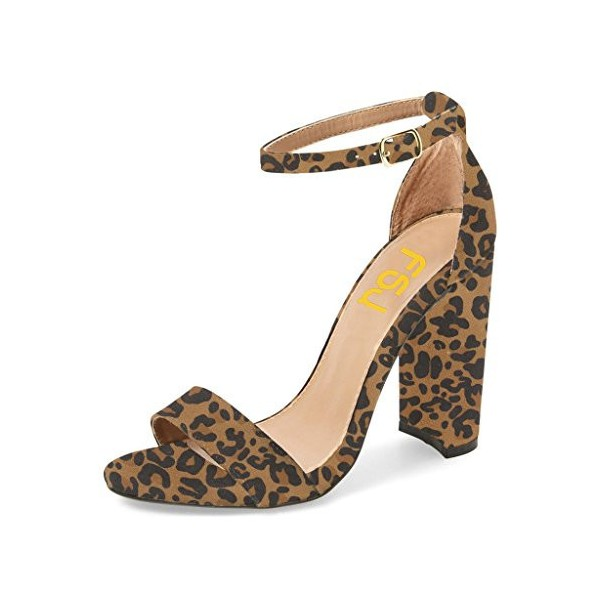 Leopard Print Heels Ankle Strap Chunky Heel Sandals US Size 3-15 image 1