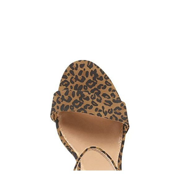 Leopard Print Heels Ankle Strap Chunky Heel Sandals US Size 3-15 image 3