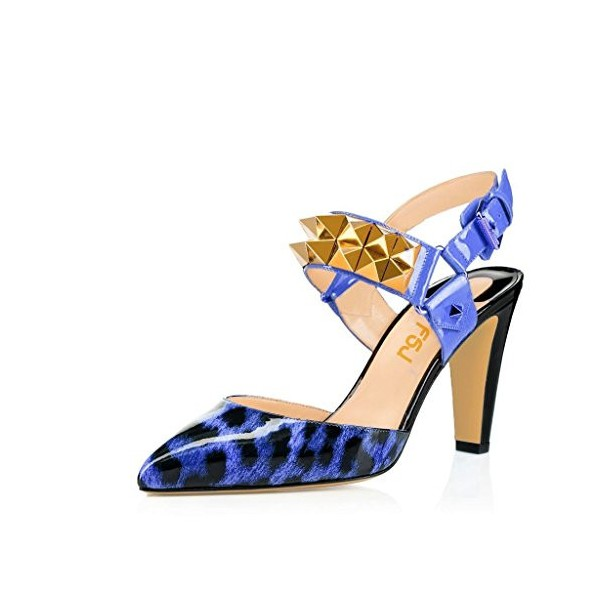 Women's Blue Patent Leather Rivets Sling Back Chunky Heels Shoes image 1