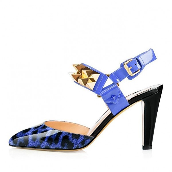Women's Blue Patent Leather Rivets Sling Back Chunky Heels Shoes image 2