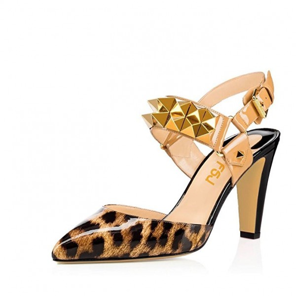 Leopard Print Heels Slingback Closed Toe Sandals with Rivets image 1