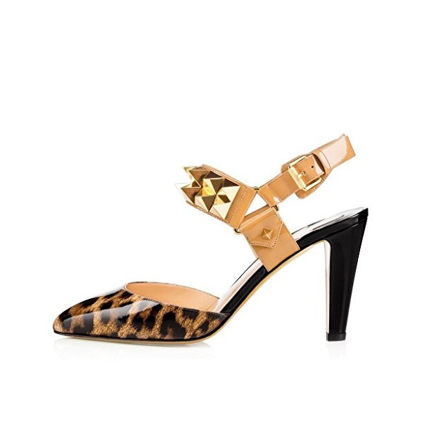 Leopard Print Heels Slingback Closed Toe Sandals with Rivets image 2