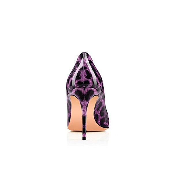 Women's Purple Patent Leather Heart Decoration Stiletto Heel Pumps Leopard Print Heels image 4