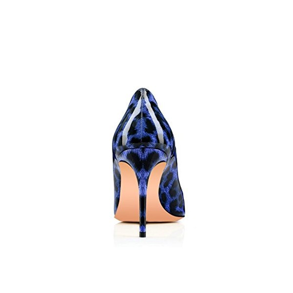 Women's Blue Patent Leather Heart Decorationed Stiletto Heel Leopard Heels Pumps image 4