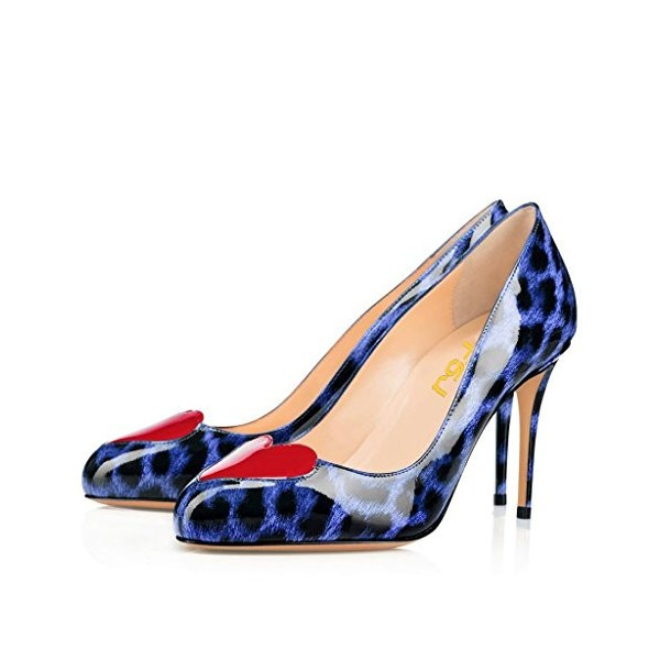 Women's Blue Patent Leather Heart Decorationed Stiletto Heel Leopard Heels Pumps image 1