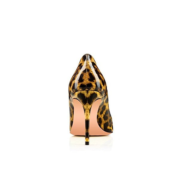 Leopard Print Heels Round Toe Patent Leather Stiletto Heel Pumps image 2
