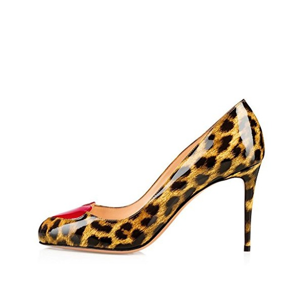 Leopard Print Heels Round Toe Patent Leather Stiletto Heel Pumps image 4