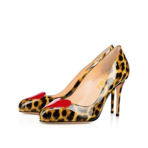 Leopard Print Heels Round Toe Patent Leather Stiletto Heel Pumps image 1
