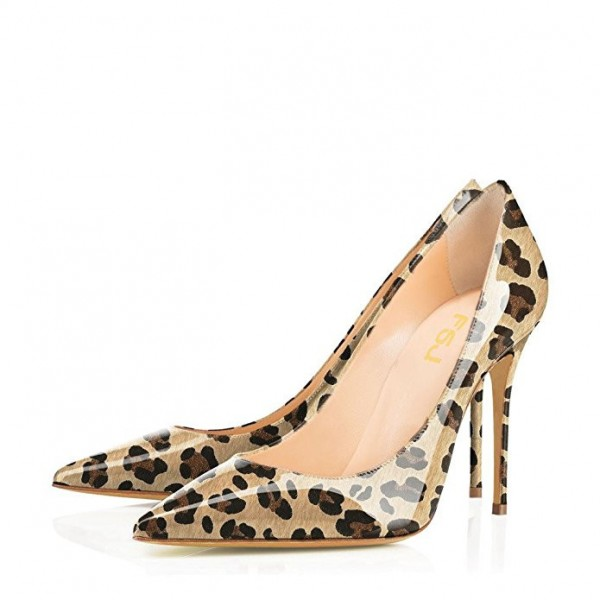 Women's Brown Patent Leather Low Cut Upper Pointy Toe Leopard Print Heels Pumps image 1