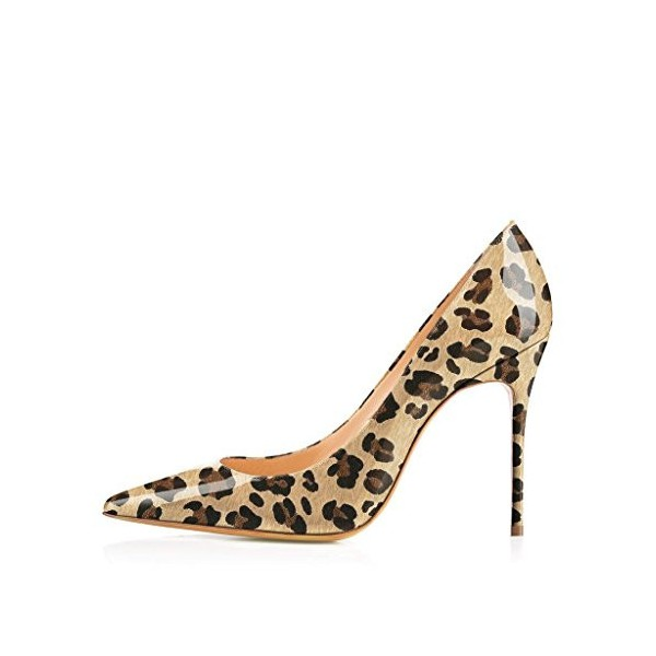 Women's Brown Patent Leather Low Cut Upper Pointy Toe Leopard Print Heels Pumps image 4
