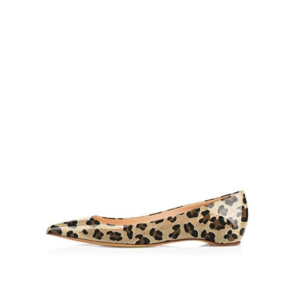 Women's Patent Khaki Pointy Toe Low Cut Upper Leopard Print Flats image 2