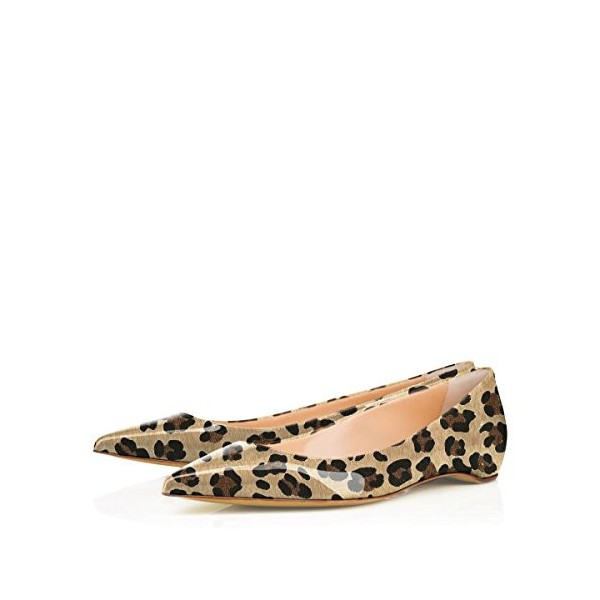 Women's Patent Khaki Pointy Toe Low Cut Upper Leopard Print Flats image 1