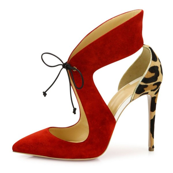 Coral Red Suede Lace-up Leopard-print Stiletto Heel Pumps image 6