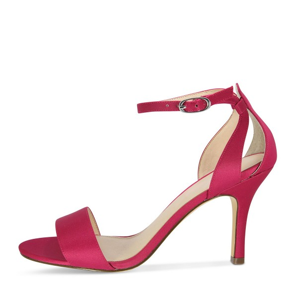 Red Satin Ankle Strap Dress Shoes Open Toe Stiletto Heels For Prom image 4