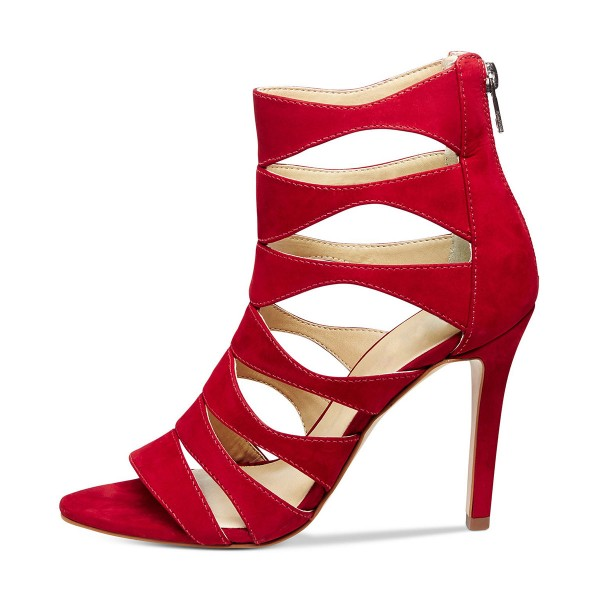 Red 3 Inch Heels Suede Hollow Out Open Toe Stiletto Heel