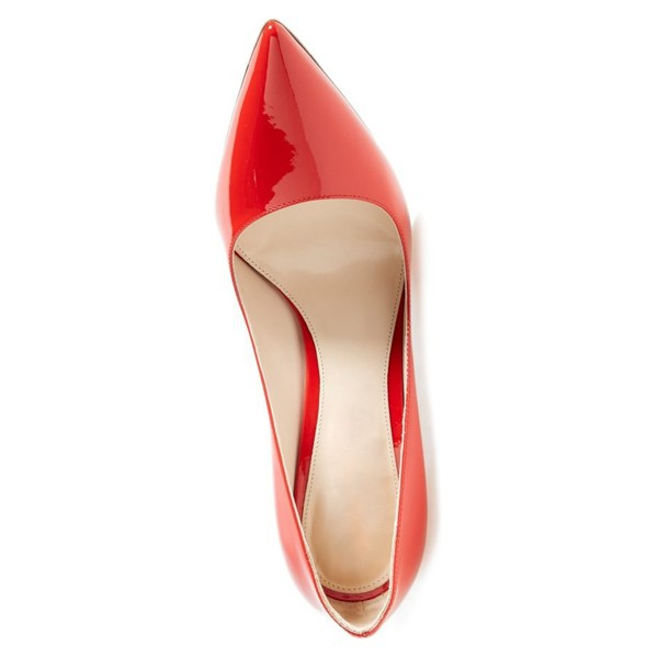 Women's 3 inch Heels Coral Red Low-Cut Stiletto Heels Office Shoes image 5