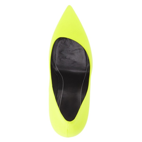 On Sale Neon Yellow Vegan Shoes Pointy Toe Stiletto Heel Pumps image 3