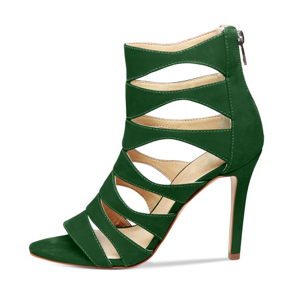 Green Stiletto Heels Suede Hollow out Open Toe Sandals image 5