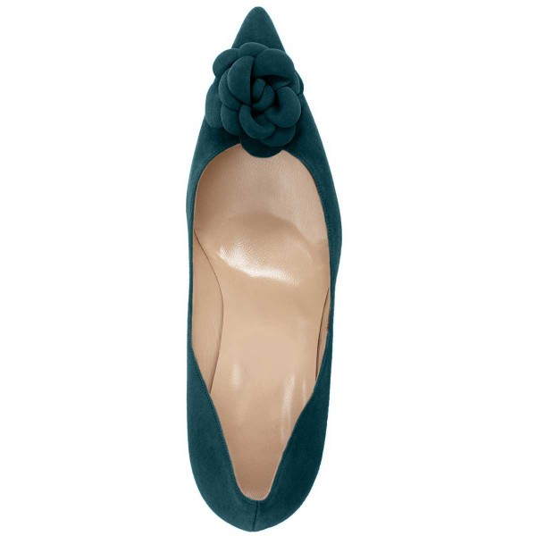 Teal Suede Shoes Pointy Toe Stiletto Heel Pumps with Flower image 2