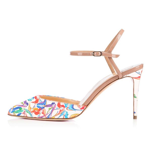 Women's White Floral Printed Pointed Toe Stiletto Heels Sandals image 2