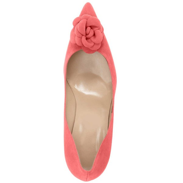 Pink Suede Shoes Pointy Toe Kitten Heel Pumps with Flower image 6