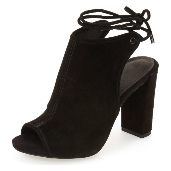 Leila Black Chunky Heel Open Toe Boots Slingback Summer Ankle Booties image 4
