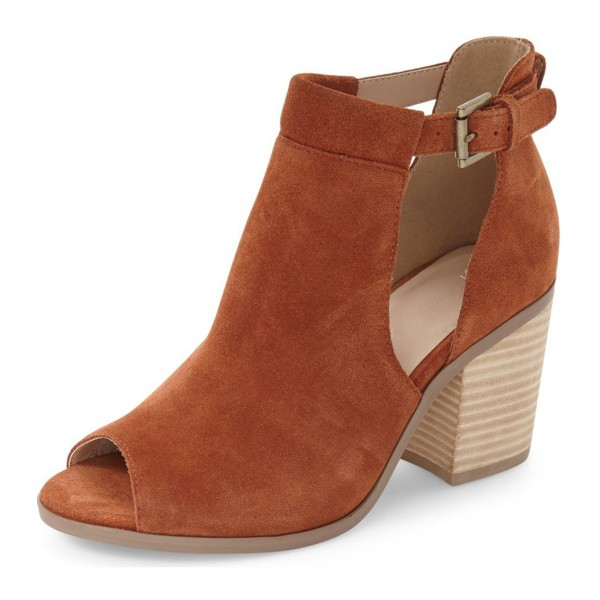 FSJ Tan Cut Out Boots Suede Wooden Block Heel Peep Toe Ankle Boots image 1