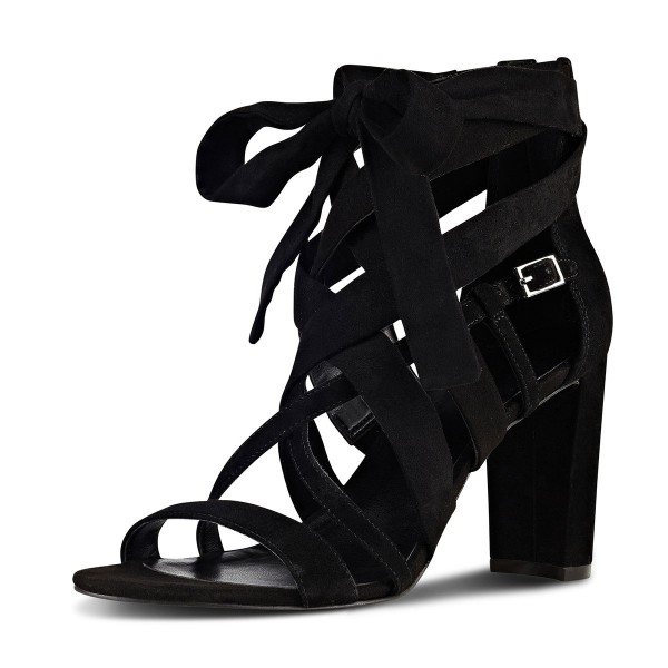 Black Strappy Sandals Lace up Suede Block Heels  image 4