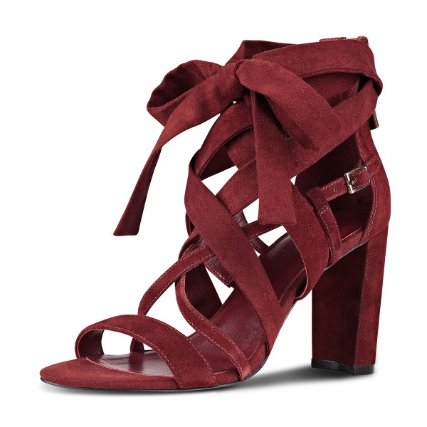 Women's Burgundy Hollow out Strappy Sandals image 2