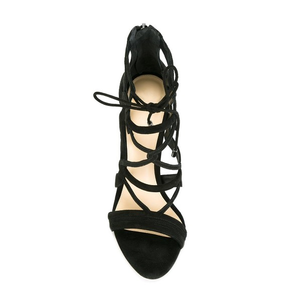 Women's Black Suede Strappy Lace Up Stiletto Heels Sandals image 4