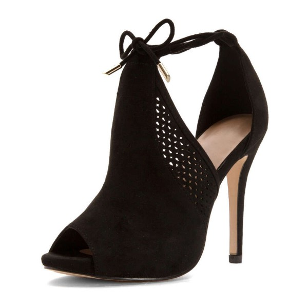 Black Hollow out Peep Toe Stiletto Heels Summer Boots image 3