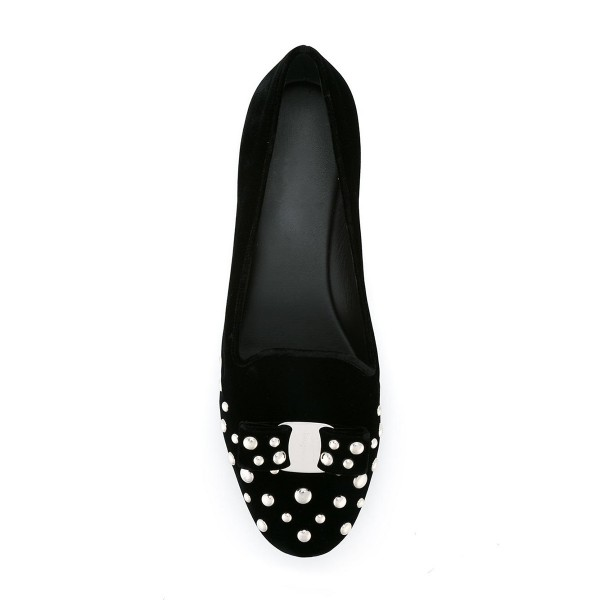 Black Studs Shoes Suede Round Toe Bow Flats by FSJ image 2