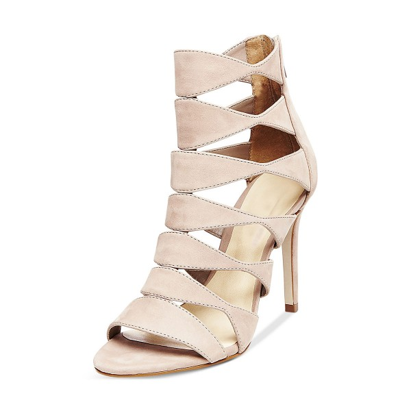 Women's Beige Suede Open Toe  Hollow-out Stiletto Heels Sandals image 3