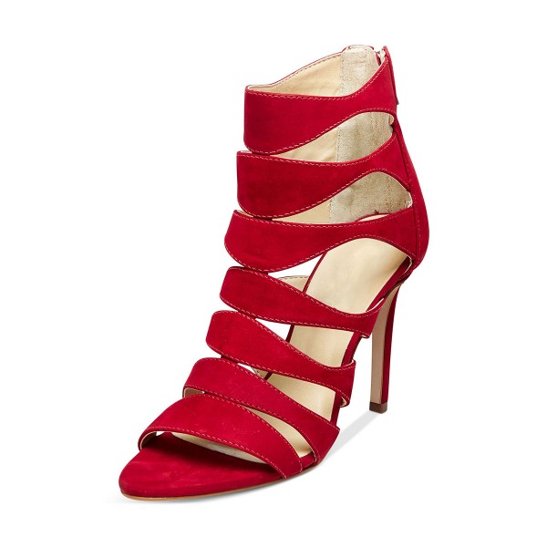 Red 3 Inch Heels Suede Hollow out Open Toe Stiletto Heel Sandals image 2