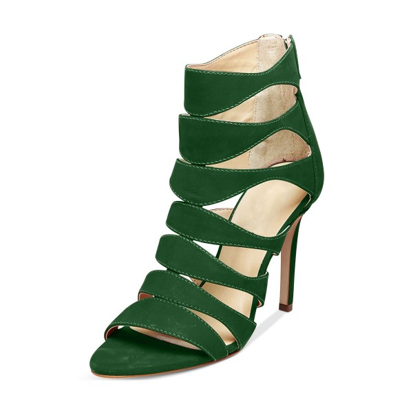 Green Stiletto Heels Suede Hollow out Open Toe Sandals image 1