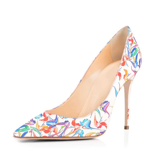 Women's Lillian White Pointed Toe Low-cut Floral Heels Stiletto Heel Pumps image 1