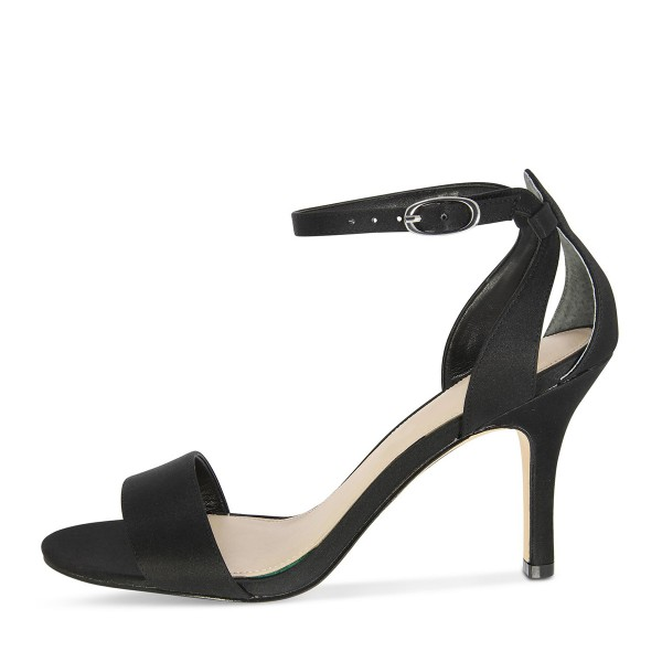 Black Satin Ankle Strap Sandals Open Toe Stiletto Heels image 2