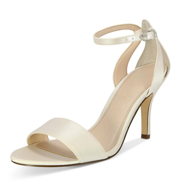 Beige Satin Stiletto Heels Open Toe Ankle Strap Sandals for Wedding image 3