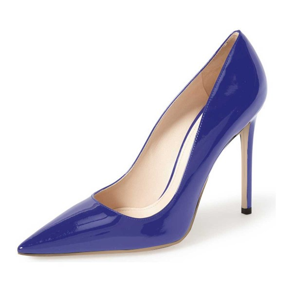 Cobalt Blue Shoes Patent Leather Pointy Toe Pumps Office Heels image ...