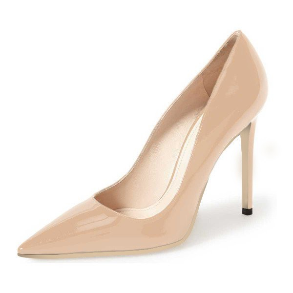 Nude Office Heels Pointy Toe Patent Leather Dress Shoes image 1
