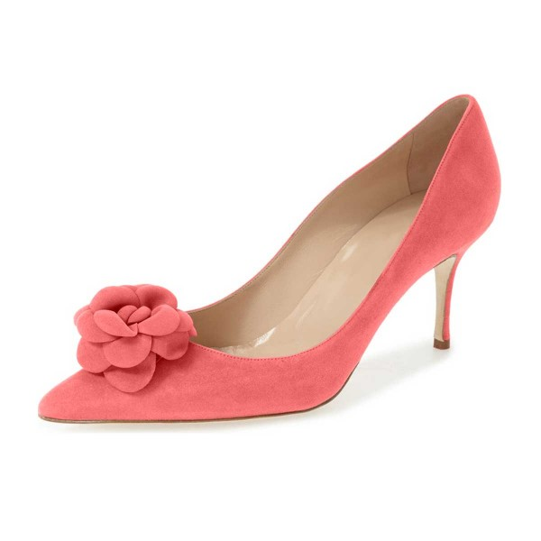 Pink Suede Shoes Pointy Toe Kitten Heel Pumps with Flower image 1