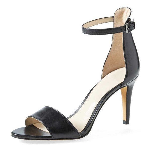 Women's Black Open Toe Stiletto Heels Ankle Strap Sandals image 5