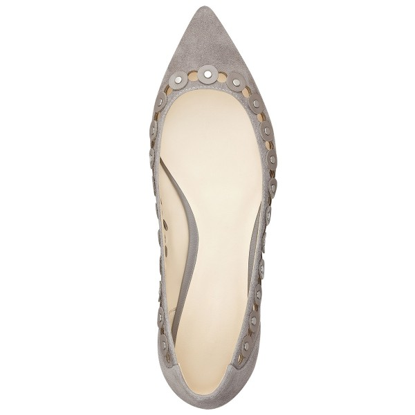 Grey Suede Hollow out Pointy Toe Flats Studs Shoes image 4