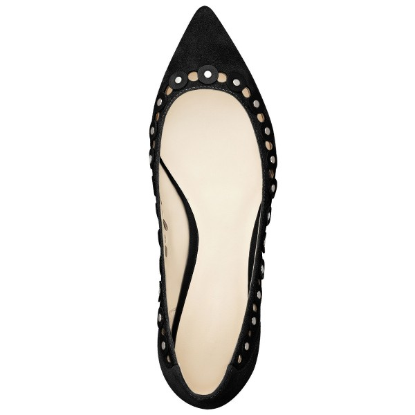 Black Studs Embellishment Hollow out Pointy Toe Comfortable Flats image 5