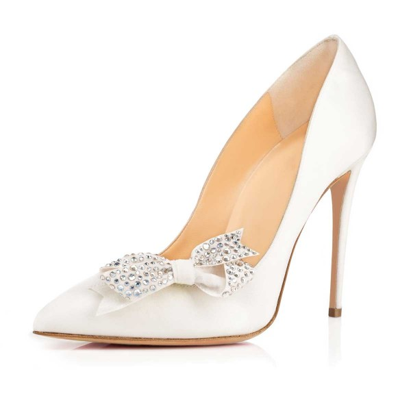 White Bridal Heels Rhinestone Bow Stiletto Heel Pumps image 2