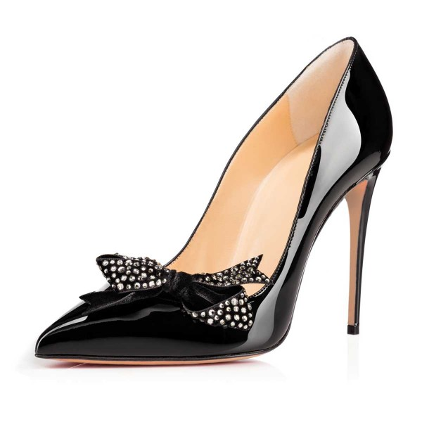 Black Rhinestone Bow Office Heels Patent Leather Stiletto Heels Pumps image 5