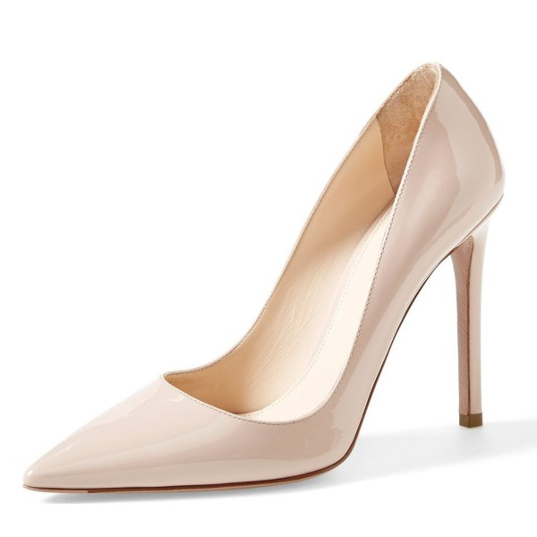 On Sale Blush Heels Patent Leather Stiletto Heel Pumps image 4