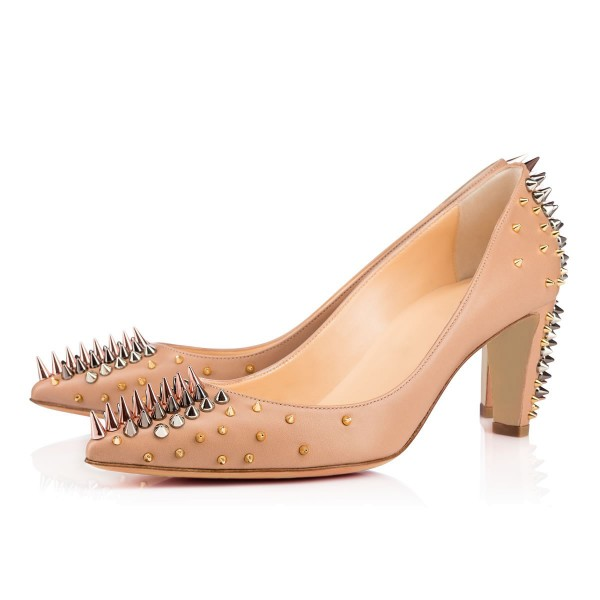 Apricot Chunky Heels Pointy Toe Pumps Party Shoes with Rivets image 1